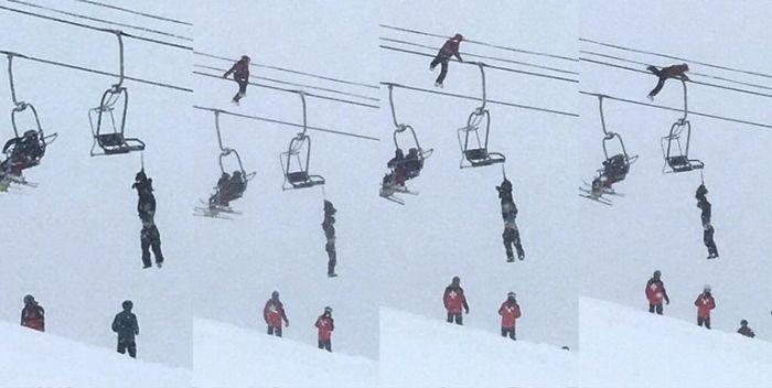 Kid Tightrope Walks On Ski Lift Cables To Save Friend (2 pics)