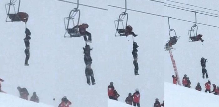 Kid Tightrope Walks On Ski Lift Cables To Save Friend (2 pics)