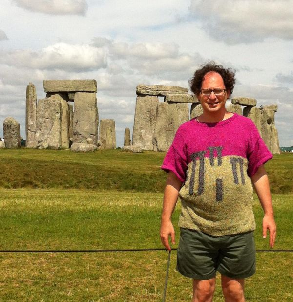 Guy Makes Sweaters Of Specific Places Then Wears Them To Those Places (24 pics)