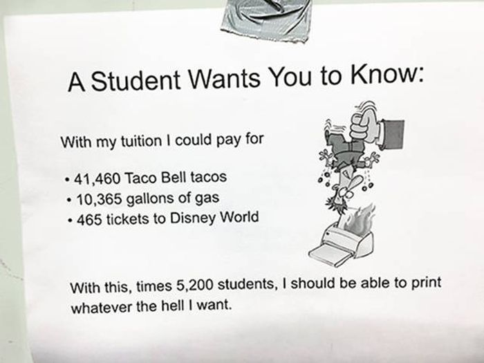 Student Owns His College Administration's Greedy Policy (2 pics)
