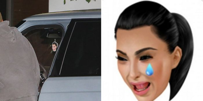 People Love The Fact That Kanye West Has A Crying Kim Emoji In His Car (2 pics)