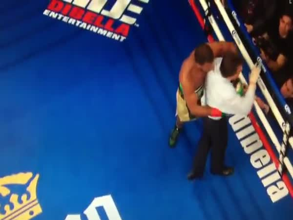 Boxing Referee Gets Punched After The Round