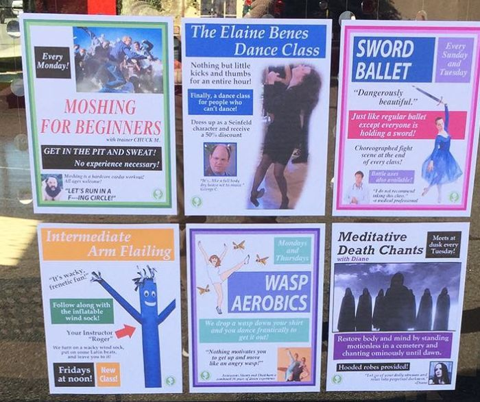 Someone Added Hilarious Fake Dance Classes To A Local Dance Studio (7 pics)