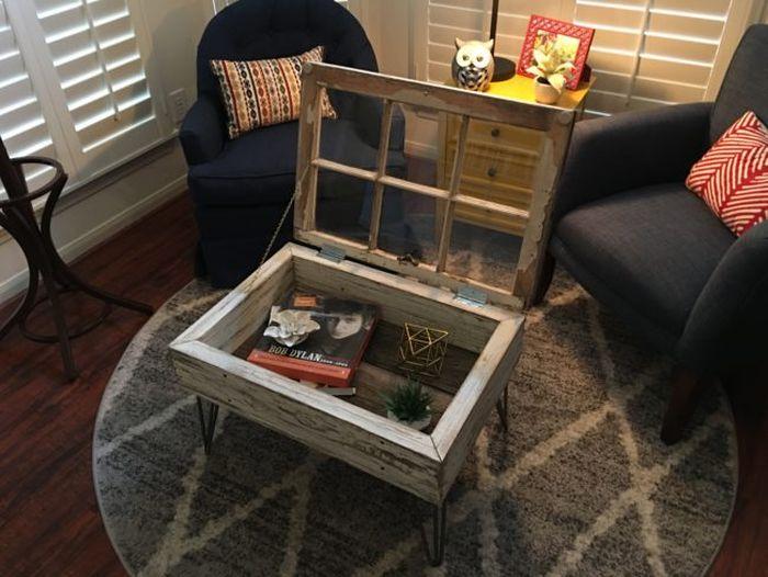 Man Turns Old Window Into A Beautiful Coffee Table (16 pics)