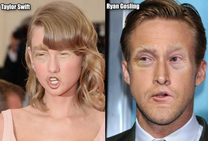 What Celebrities Look Like With Donald Trump's Eyes And Mouth (12 pics)