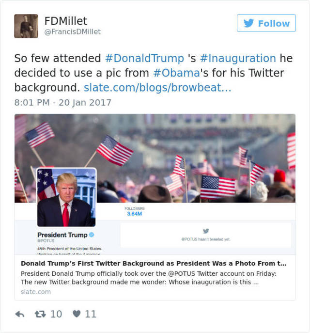 Hilarious Tweets About Donald Trump's Inauguration That Will Crack You Up (18 pics)