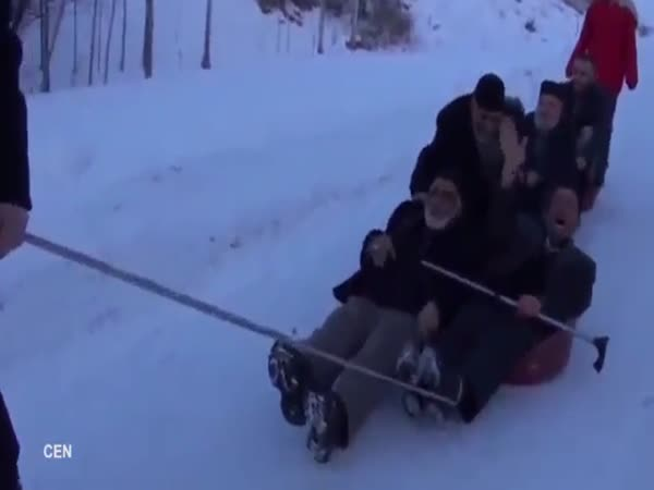 Grandpas Slide Down Snowy Slope