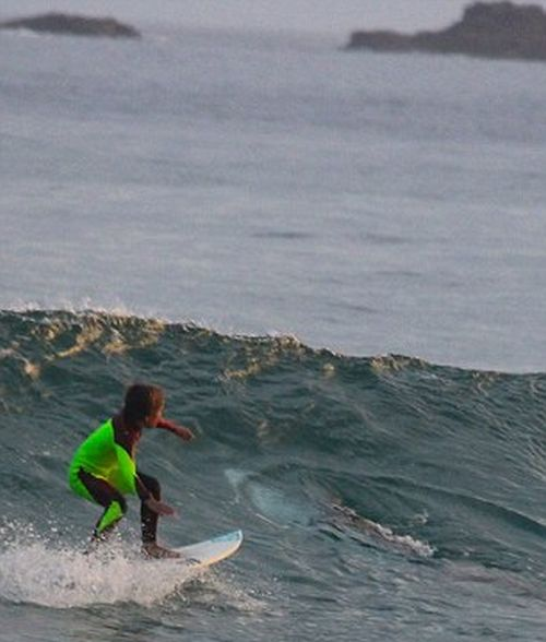Chilling Photos Capture A 10 Year Old Surfing Over A Great White Shark (4 pics)