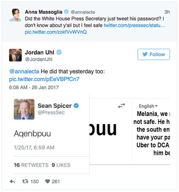 Press Secretary Sean Spicer Accidentally Tweets His Password (3 pics)