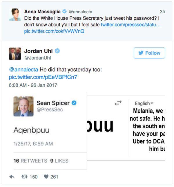 Press Secretary Sean Spicer Accidentally Tweets His Password (3 pics)