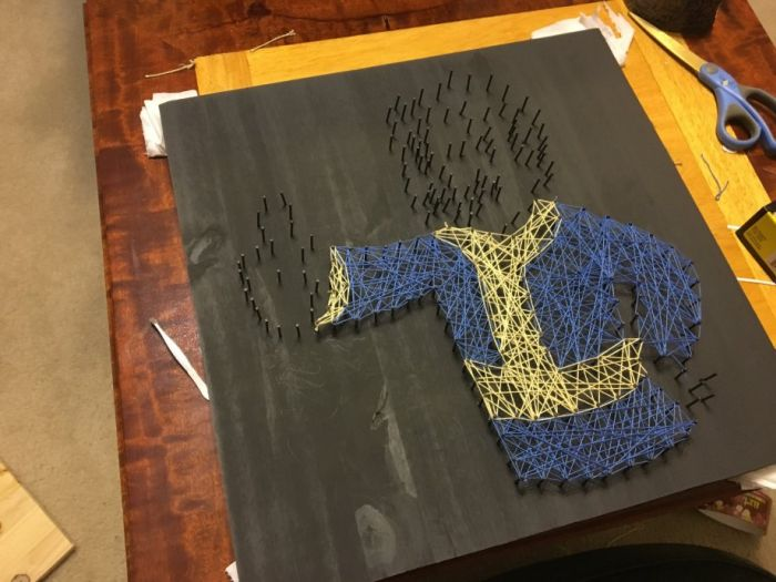 How To Make A Fallout Vault Boy Nail Board From Start To Finish (14 pics)