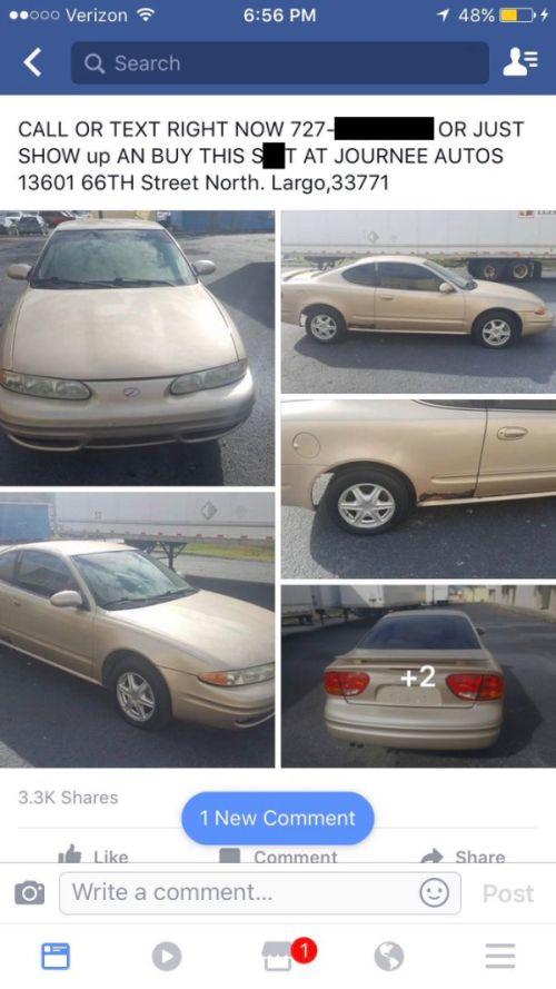 Guy Posts Hilariously Honest Description Of His $900 Car (2 pics)