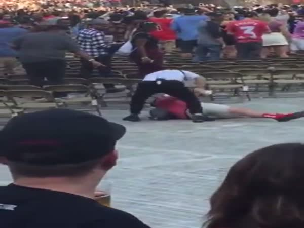 Security Guard Tackles Idiot At Kanye West Concert