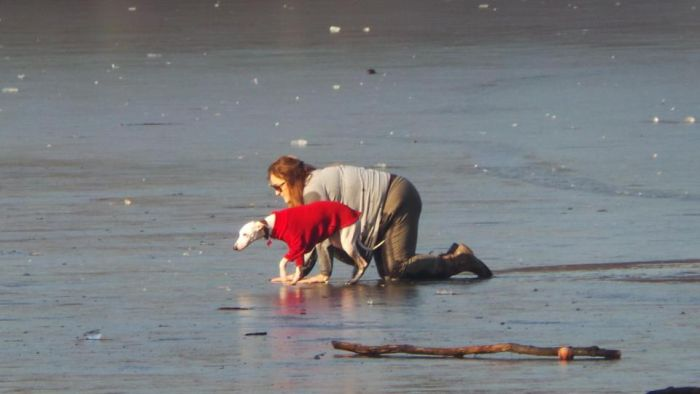 Brave Woman Rescues Dog Who Fell Through The Ice (8 pics)