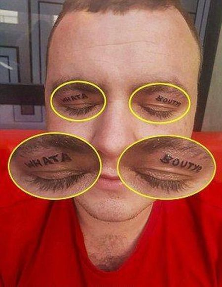 Guy Returns From Drinking Binge With Tattoos On His Eyelids (4 pics)
