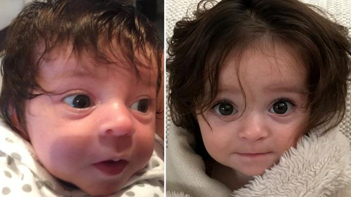 This Baby Was Born With Luscious Locks Of Hair (4 pics)