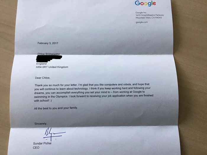 Young Girl Gets A Priceless Response After Sending A Letter To Google (3 pics)