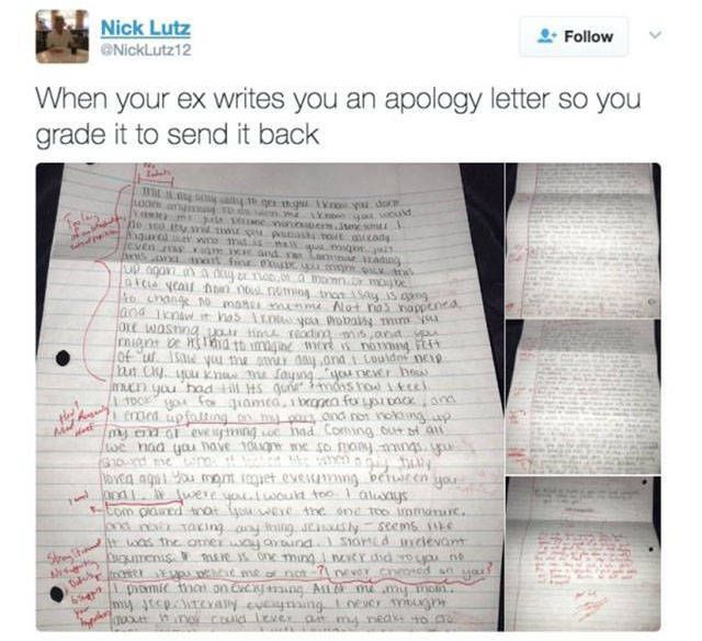 Guy Grades A Ridiculous Apology Letter From His Ex (13 pics)
