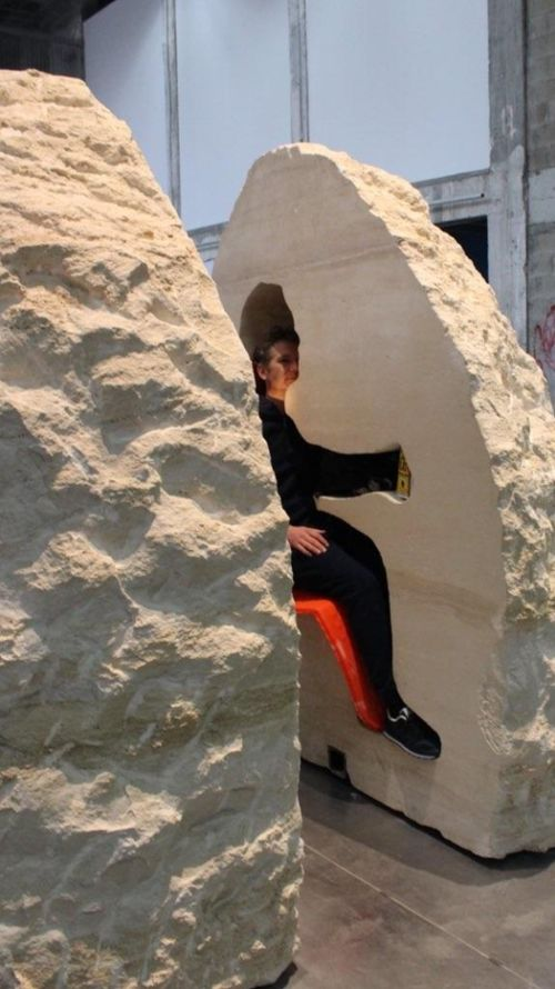 Artist From France Spends A Week Inside A 12-Ton Stone (6 pics)