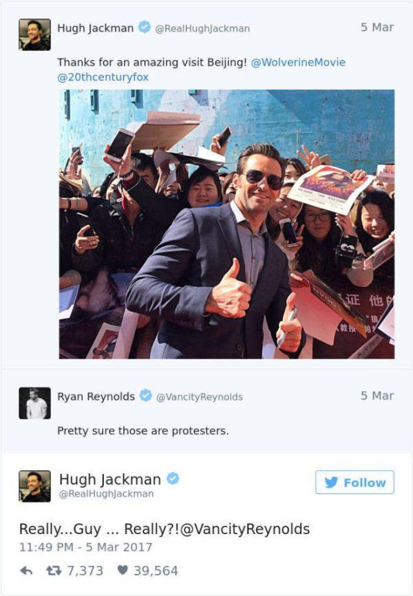 Ryan Reynolds Just Loves To Troll Hugh Jackman On Twitter (9 pics)