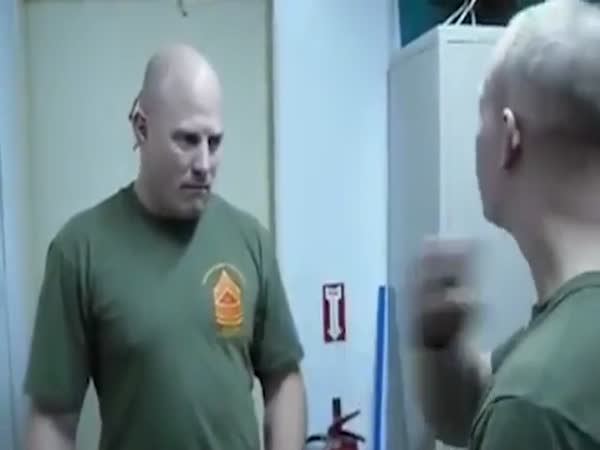 Incredible Moment US Marine Knocks Out Friend With Incredible Secret Brachial Stun Chop To His Neck