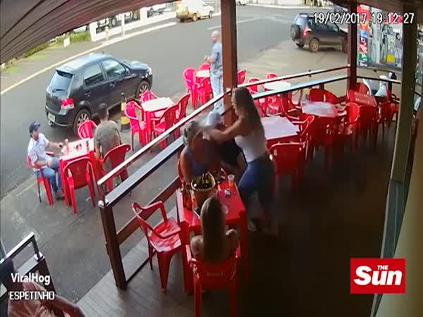 Shocking Moment Wife Sparks Massive Bar Brawl When She Attacks Her Husband And His Mistress After Catching Them Drinking Together