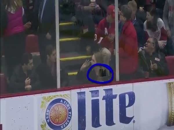 Puck Flies Through Tiny Camera Cutout And Drills Fan In Face