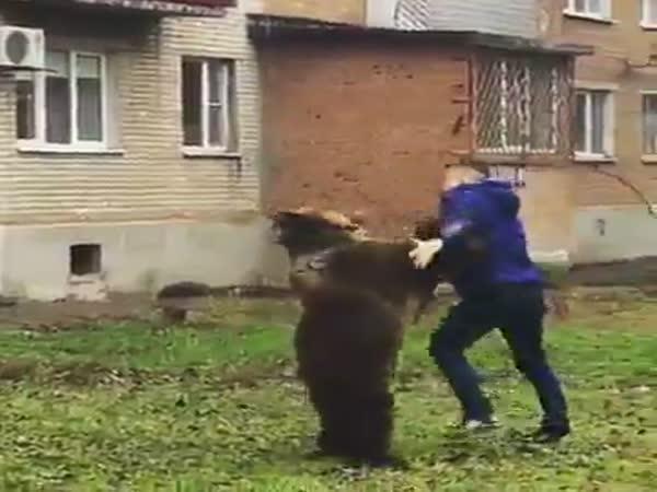 Walking A Bear In Russia
