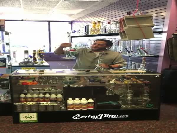 Stoned Dude Accidentally Destroys Glass Counter