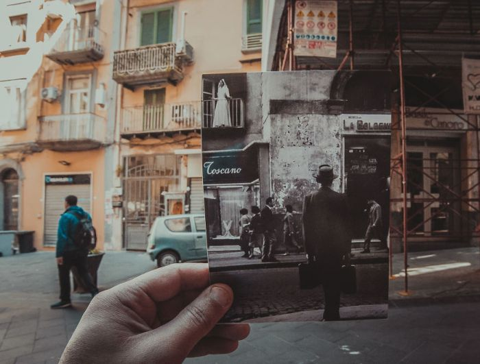 Photographer Adds Old Photos To Destinations During Their Travels (23 pics)