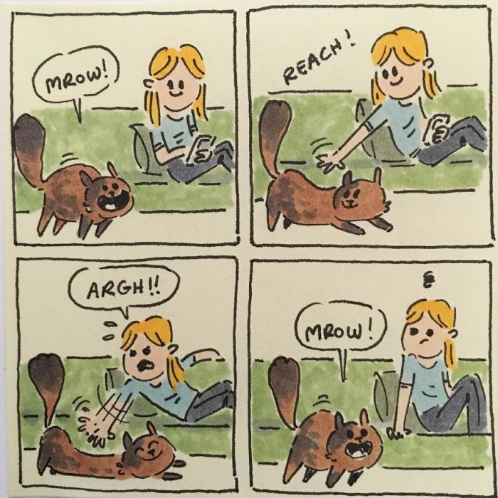 Artist Accurately Captures What It's Like Living With Her Cats (20 pics)