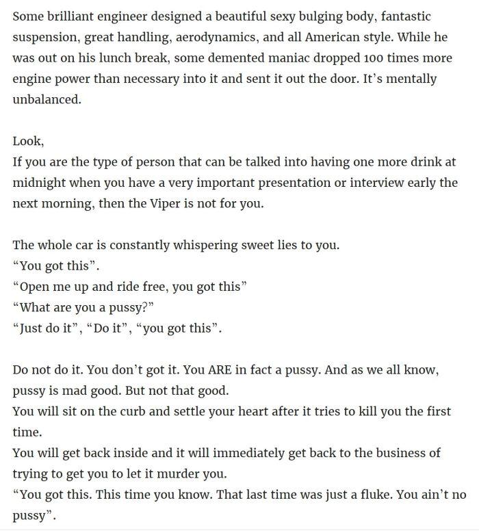The Most Honest Dodge Viper Craigslist Ad Ever (7 pics)
