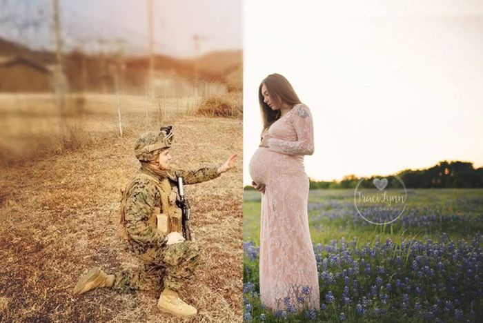 Photographer Does Something Amazing For Navy Wife's Maternity Photos (3 pics)