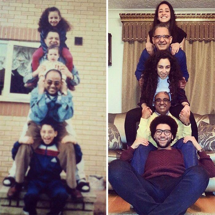 Families Recreate Classic Photos From Their Childhood (30 pics)