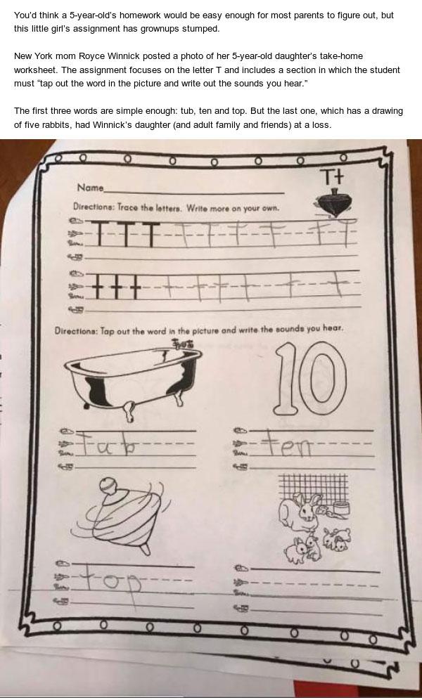 Kindergarten Homework Question Stumps Adults (3 pics)