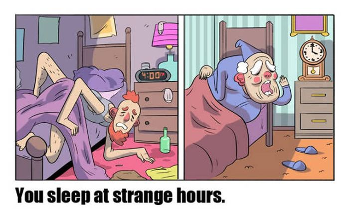 Comics Prove There Is No Difference Between Students And Old People (7 pics)