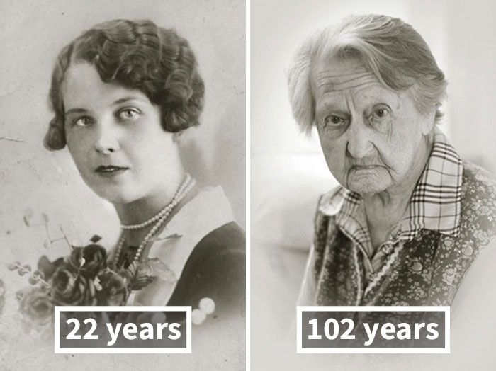 Pictures Of People As Young Adults And 100 Year Olds (12 pics)