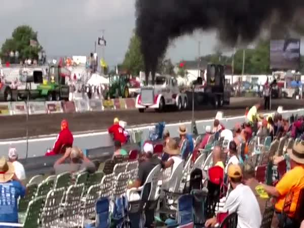 Engine Launches From Semi During Tractor Pull Competition