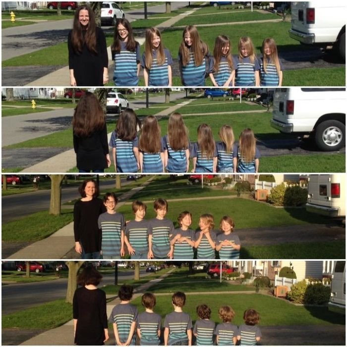 Mom And Her 6 Sons Donate 17 Feet Of Hair To Kids In Need (2 pics)