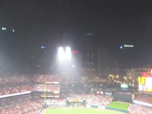 Intense Lightning Strike At Busch Stadium