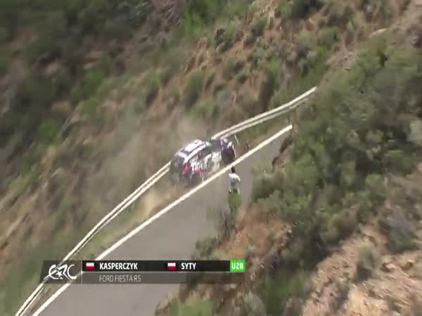 Rally Car Puts The Guard Rail To The Test In This Near Deadly Crash