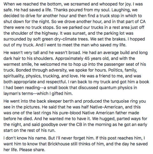 Woman Tries To Find The Trucker Who Saved Her (5 pics)