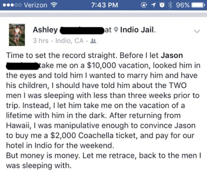 Guy Shares His Cheating Girlfriend's Story On Facebook (3 pics)