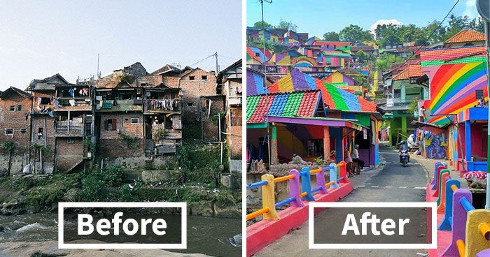 Indonesian Government Turns Slum Into A Rainbow Village (12 pics)