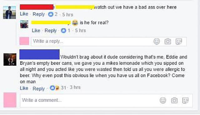 Guy Gets Owned By His Friends After Bragging On Facebook (2 pics)
