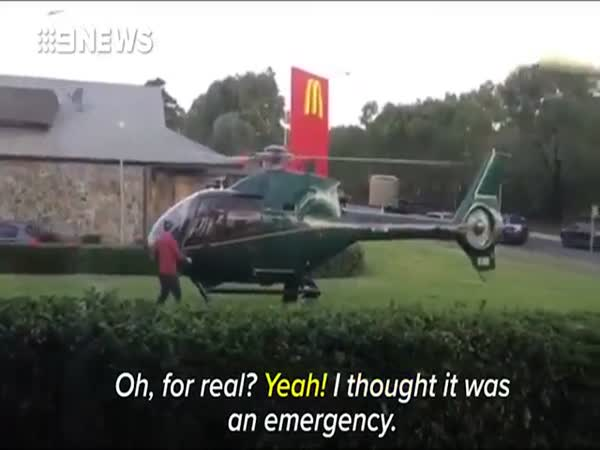 Man Lands Helicopter At A Sydney McDonalds To Collect Order