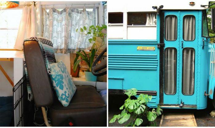 Georgia Couple Turn Old Blue Bird School Bus Into Home On Wheels (14 pics)