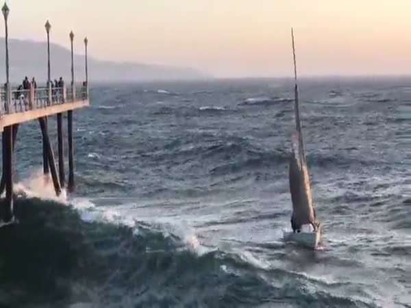Sailboat Gets Rekt By A Giant Wave