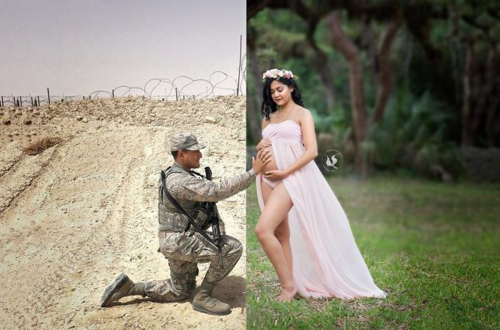 Wife Comes Up With A Heartwarming Idea To Include Deployed Husband (3 pics)