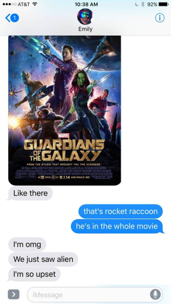 Girl Goes To See Guardians Of The Galaxy And Gets A Big Surprise (4 pics)
